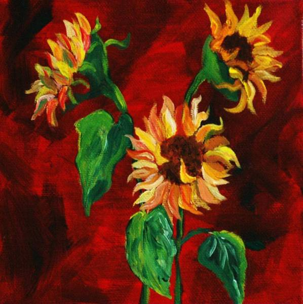 Painting - Sunflowers On Rojo by Melinda Etzold