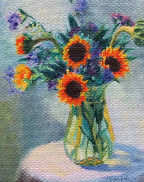 Porch Painting - Sunflowers On The Porch by Bonnie Mason