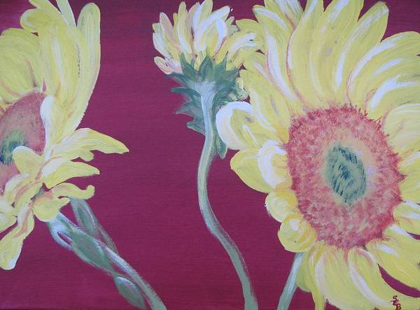 Wall Art - Painting - Sunflowers On The Run by Susan E Brooks
