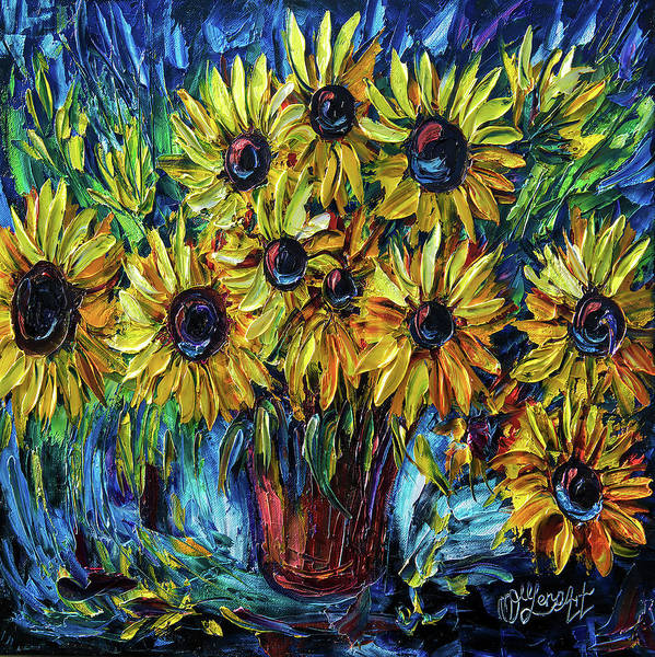 Painting - Sunflowers  Palette Knife by OLena Art - Lena Owens
