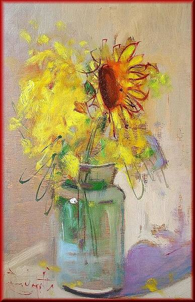 Poppie Painting - Sunflowers by Pelagatti