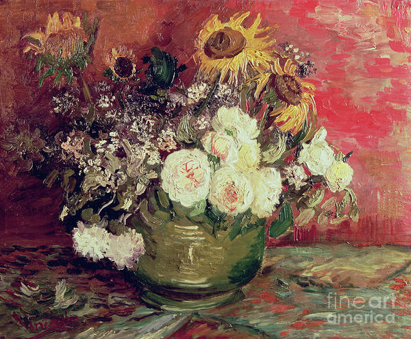Wall Art - Painting - Sunflowers, Roses And Other Flowers In A Bowl, 1886  by Vincent Van Gogh