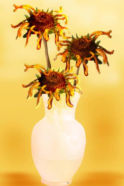 Art Print featuring the digital art Sunflowers by Teresa Epps