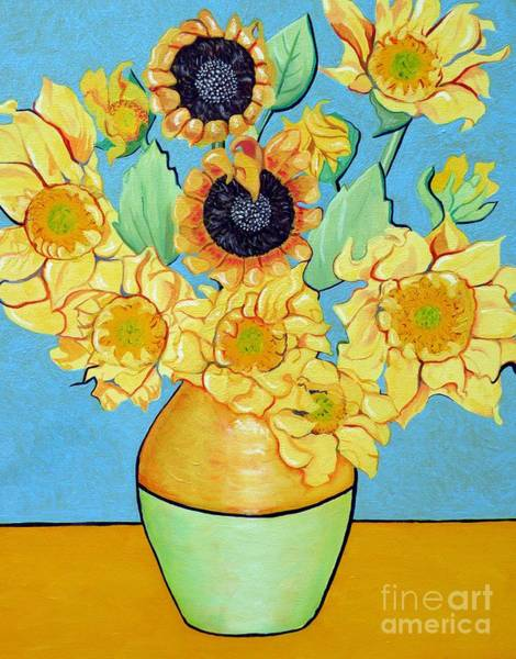 Wall Art - Painting - Sunflowers Tribute To Vincent Van Gogh II by Christine Belt