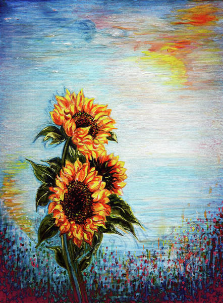 Floral Shower Curtain Painting - Sunflowers - Where Ocean Meets The Sky by Harsh Malik