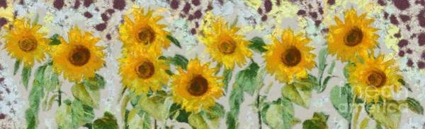 Blooms Digital Art - Sunflowers Wide by Edward Fielding