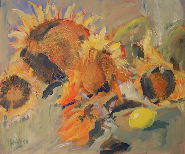 Wall Art - Painting - Sunflowers With Lemon by Nop Briex