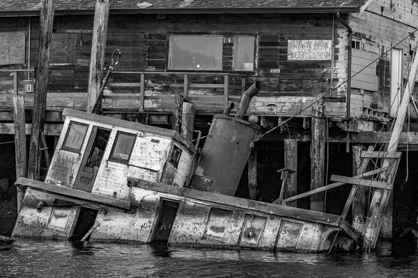 Photograph - Sunken Boat In Noyo Harbor In Black And White by Bill Gallagher