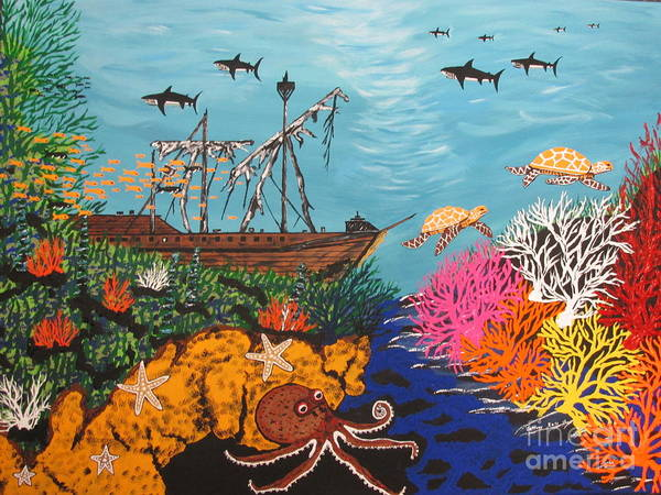 Wall Art - Painting - Sunken Treasure Ship by Jeffrey Koss