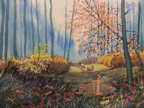 Painting - Sunlight And Sheep In Sledmere Woods by Glenn Marshall