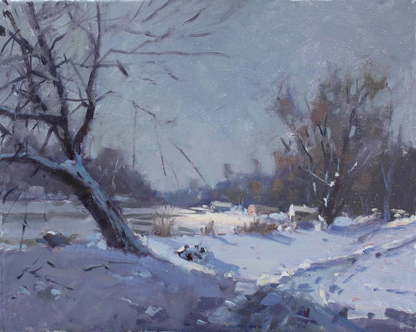 Snow Scene Painting - Sunlight In Freezing Cold by Ylli Haruni