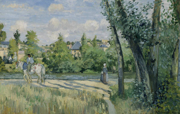 Painting - Sunlight On The Road Pontoise by Camille Pissarro