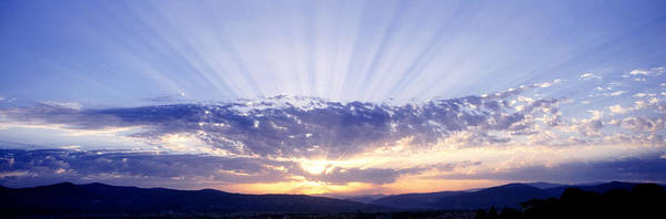 Wall Art - Photograph - Sunlight Through Clouds Tuscany Italy by Panoramic Images