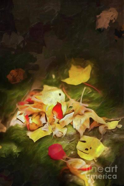 Fork Digital Art - Sunlit Autumn Leaves On Dark Moss Ap by Dan Carmichael