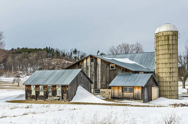Photograph - Sunlit Barns And Silos In Winter by Sue Smith