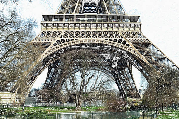 Deck Digital Art - Sunlit Base And First Floor The Eiffel Tower In Early Springtime Paris France Colored Pencil Digital by Shawn O'Brien