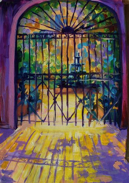 Wall Art - Painting - Sunlit Courtyard New Orleans by Saundra Bolen Samuel