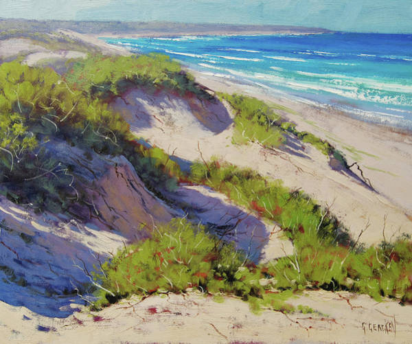 Scene Wall Art - Painting - Sunlit Dunes Norah Head  Nsw Australia by Graham Gercken