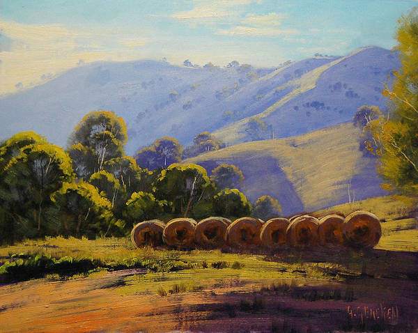 Victoria Wall Art - Painting - Sunlit Hills Strath Creek  Vic  Australia by Graham Gercken