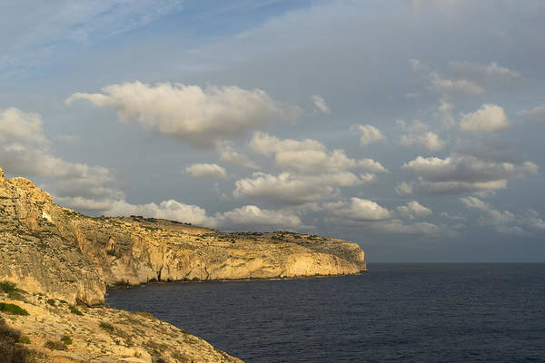 Promontory Point Photograph - Sunlit Limestone Cliffs In Malta by Georgia Mizuleva