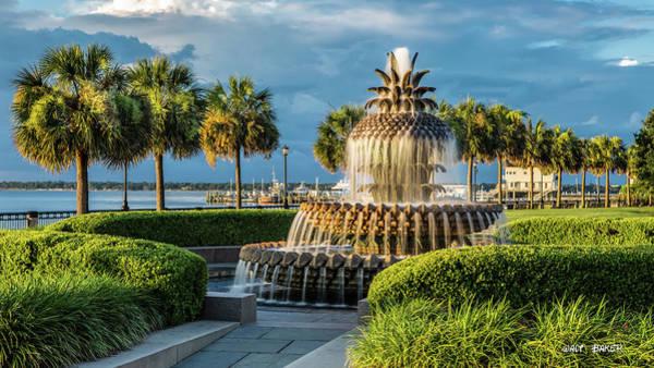 Palmetto Photograph - Sunlit Pineapple Fountain by Walt Baker
