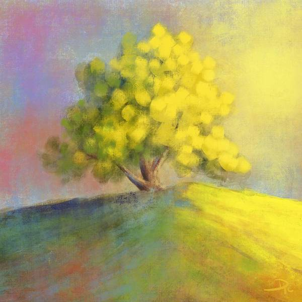 Wall Art - Digital Art - Sunlit Tree by David G Paul
