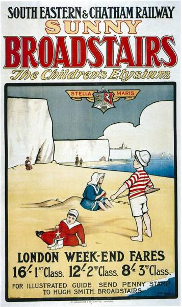 Sunny Mixed Media - Sunny Broadstairs - South Eastern And Chatham Railway - Retro Travel Poster - Vintage Poster by Studio Grafiikka