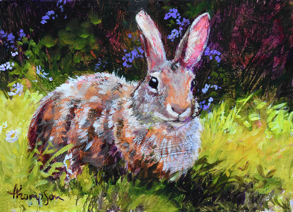 Cottontail Wall Art - Painting - Sunny Bunny #2 by Tracie Thompson