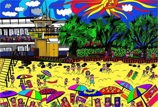 Wall Art - Digital Art - Sunny Day At The Beach by Karen Elzinga