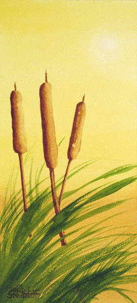 Painting - Sunny Day Cattails by Rich Stedman