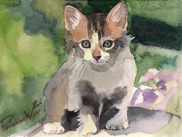 Calico Kitten Wall Art - Painting - Sunny Day by Yuliya Podlinnova