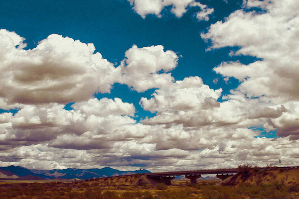 Photograph - Sunny Mohave Clouds And Bridge by Bonnie Follett