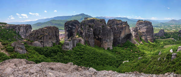Famous Wall Art - Photograph - Sunny Panorama Of Greek Meteora by Jaroslaw Blaminsky