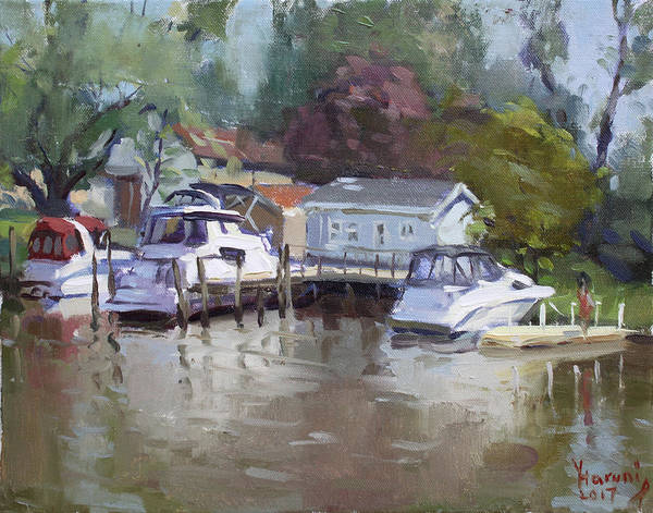 Lake House Painting - Sunny Sunday At The Canal by Ylli Haruni