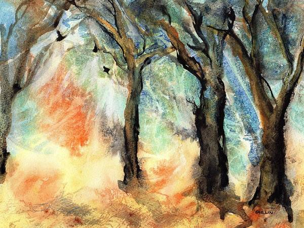 Wall Art - Painting - Sunny Wooded Feel  by Carlin Blahnik CarlinArtWatercolor