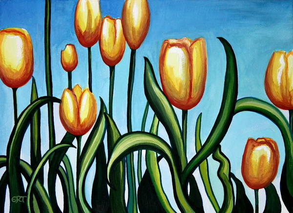 Painting - Sunny Yellow Tulips by Elizabeth Robinette Tyndall