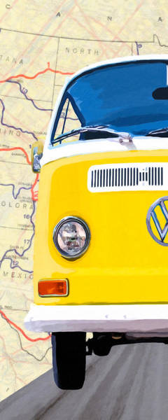 Mixed Media - Sunny Yellow Vw Bus - Left by Mark Tisdale