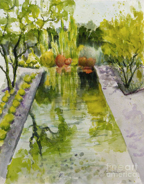 Annenberg Painting - Infinity Pool In The Gardens At Annenburg Estate by Maria Hunt