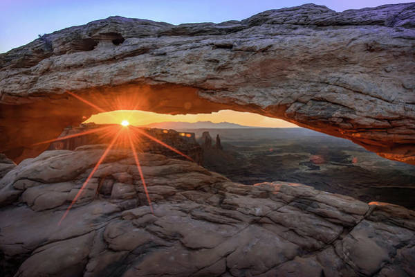 Photograph - Sunrays Over Canyonland National Park At The Mesa Arch by Gregory Ballos