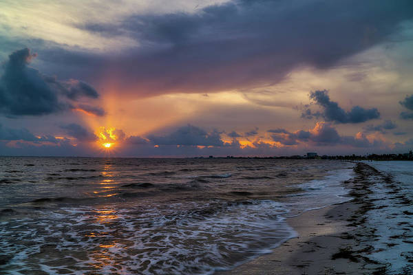 Sunrays Over The Gulf Of Mexico Art Print