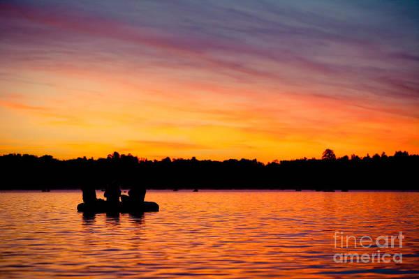 Photograph - Sunrise Above Lake Water And Boat Summer Time Latvia Ezera Skanas by Raimond Klavins