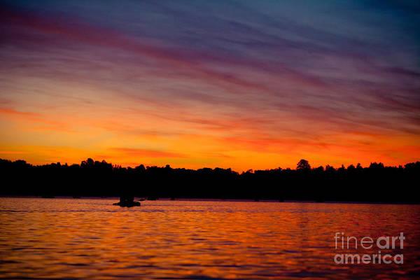 Photograph - Sunrise Above Lake Water Summer Time by Raimond Klavins