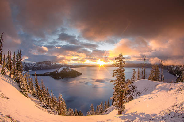 Crater Lake Photograph - Sunrise After Summer Snowfall by Greg Nyquist