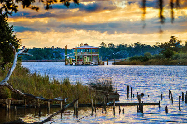 Photograph - Sunrise And Boathouse On The Bon Secour River by Michael Thomas