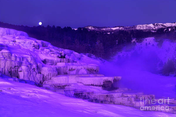 Photograph - Sunrise And Moonset Over Minerva Springs Yellowstone National Park by Dave Welling