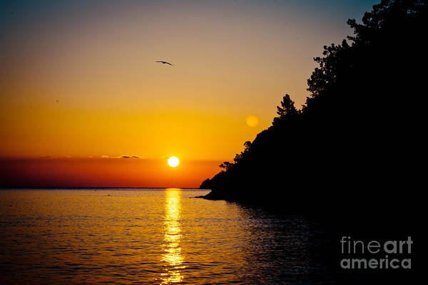 Photograph - Sunrise And Seascape Orange Color by Raimond Klavins