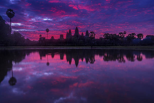 Reap Photograph - Sunrise Angkor Wat Reflection by Mike Reid