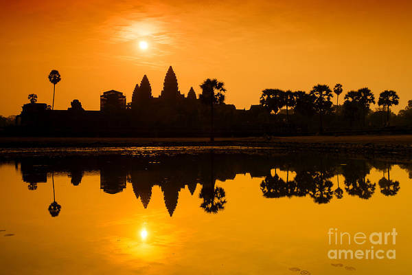 Photograph - Sunrise At Angkor Wat by Yew Kwang