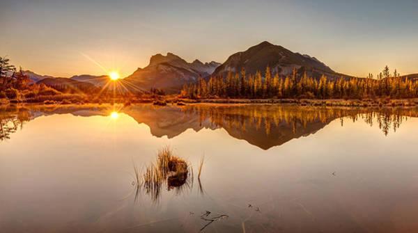 Photograph - Sunrise At Banff's Vermilion Lakes  by Pierre Leclerc Photography