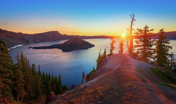 Photograph - Sunrise At Crater Lake by John Hight